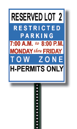 Example of a Reserved Faculty/Staff Lot Sign