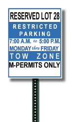 Example of a Night Reserved Faculty/Staff Parking Lot Sign